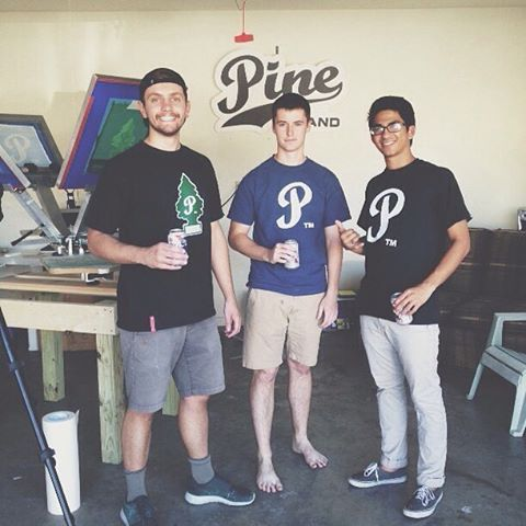 Once upon a time Pine was a based in a borrowed barefoot garage. Shout out to these two day 1ers // #pinebrand #EverydayEquipment #handprintedintherockies