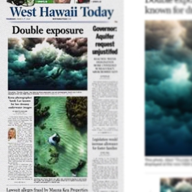 Front page of the West Hawaii Today this morning!  Featuring the @smugmug video profile + @hm grand opening.  Link to article on my profile, or FB page. The top photo was taken of @minhunny and the bottom one was taken by @naia4. :) #westhawaiitoday