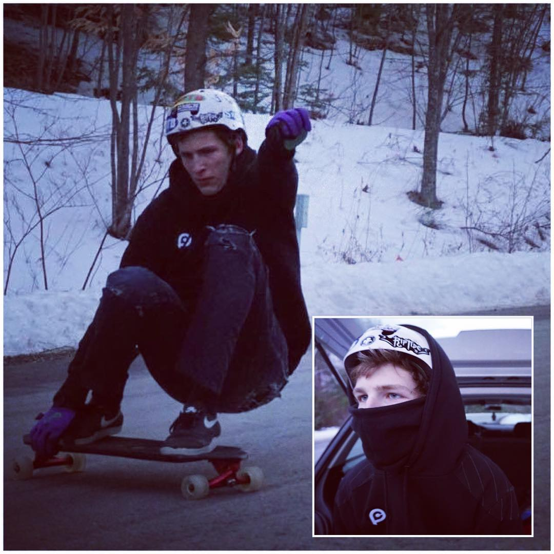 @kevinobrien603 keeps at it all winter long thanks to the #pushcultureapparel pullover with built in #facemask #likeaninja  v2 now available in our store (also killer for #snowboarding )  #stayskatin #toocold #ninjamask #builttolast