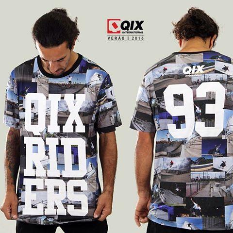 Camiseta QIX Print Riders - Verão 16. Imagens dos skatistas profissionais @kelvinhoefler @rodrigoleal e @samuel_jimmy