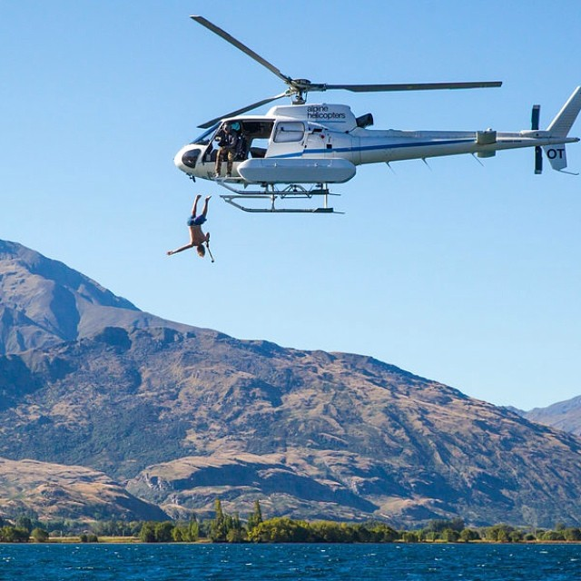 Come on down. Hucker Clark's unconventional diving platform. #diving #newzealand #chopper #bmx