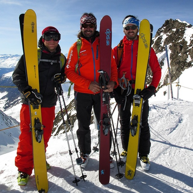 Three generations of #dpsskis as a group of DPS #European representatives head off-piste in Madesimo #Italy.