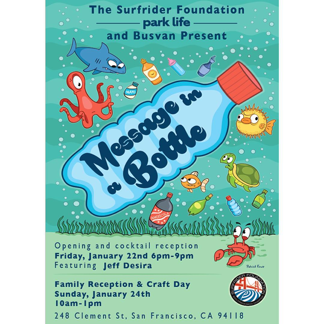 Join the San Francisco Chapter of Surfrider and @parklifesf for an evening of art and education focusing on ocean plastic pollution. Thank you to Busvan, Kleen Kanteen, Jeff Desira, Park Life, all the artists, and volunteers. Visit our FB invite page...
