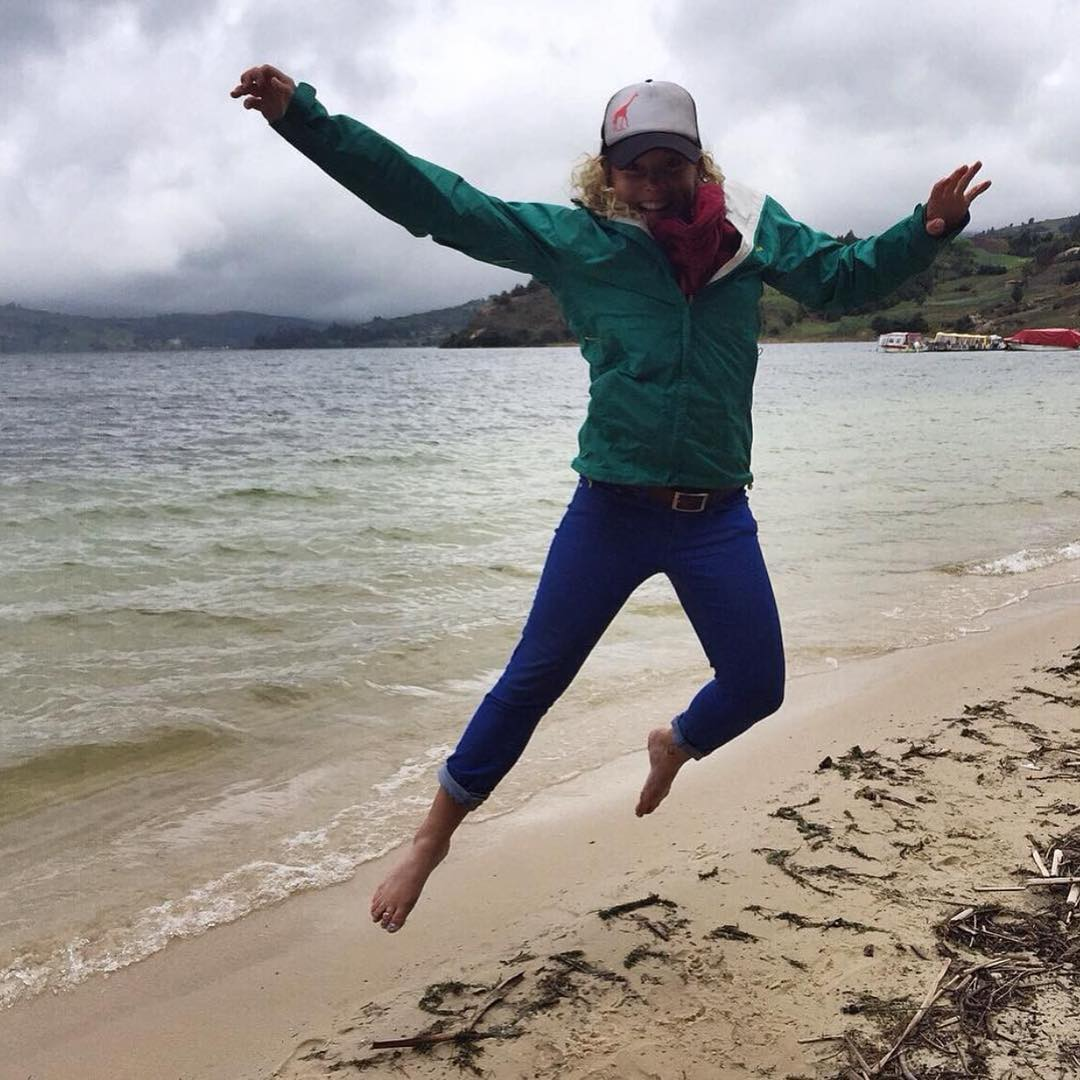 @alms_ jumping for joy at Playa Blanca, Lago de Toto! Reppin' SheJumps from Aquitana, Colombia