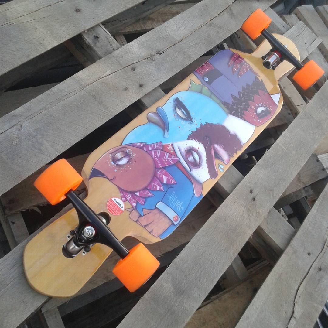 """Word To The Wise"" This board is perfect for pushing great distances as well as bombing hills and alleys at moderate speeds or just kicking around town. The shape along with its maple and glass construction is a perfect combination for comfort and..."