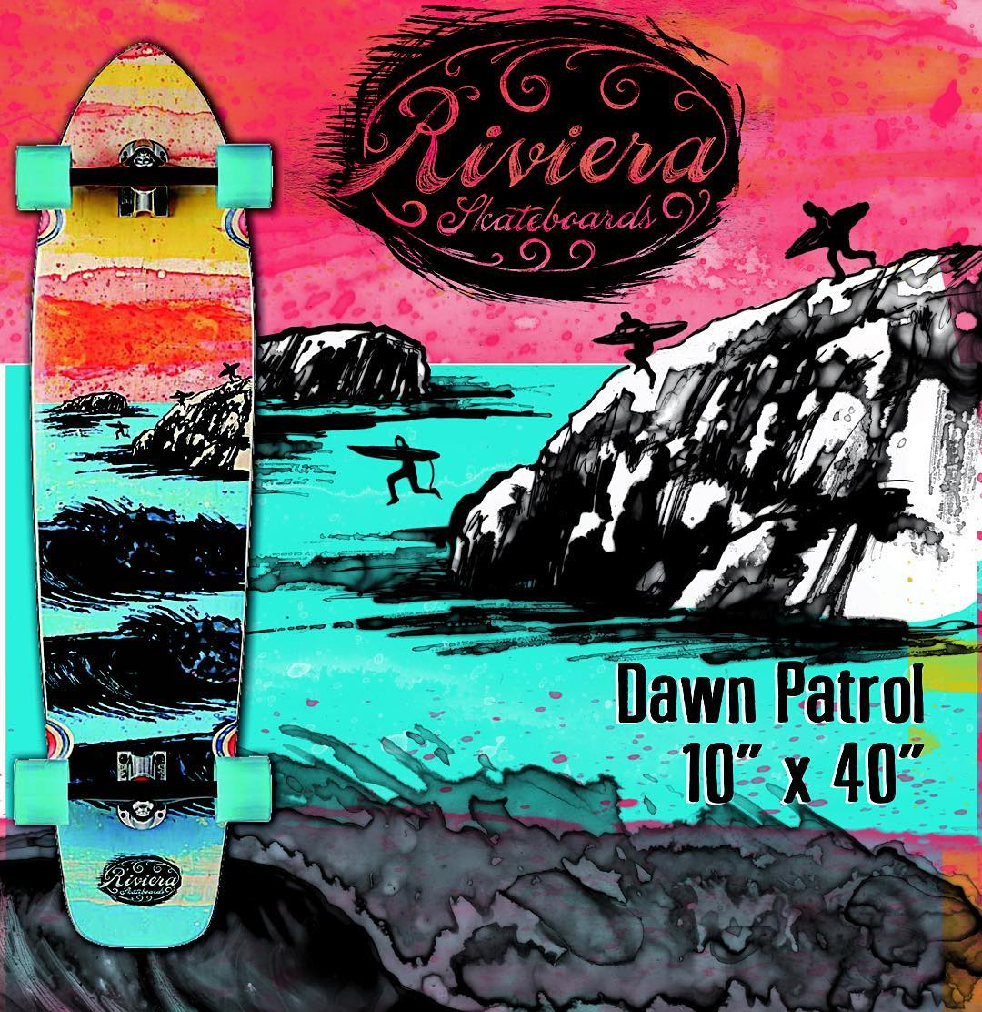 "From our ""Ink & Waves"" Series, enjoy our DAWN PATROL 10"" x 40"" Classic Longboard Complete... Detailed with hand drawn ink graphics and stylized with water color soft tones, this board delivers the dawn patrol surf essence, anytime of the day!....."