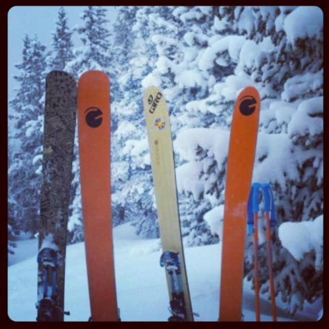 Grace skiers always find the powder #orangehot #custom #Colorado