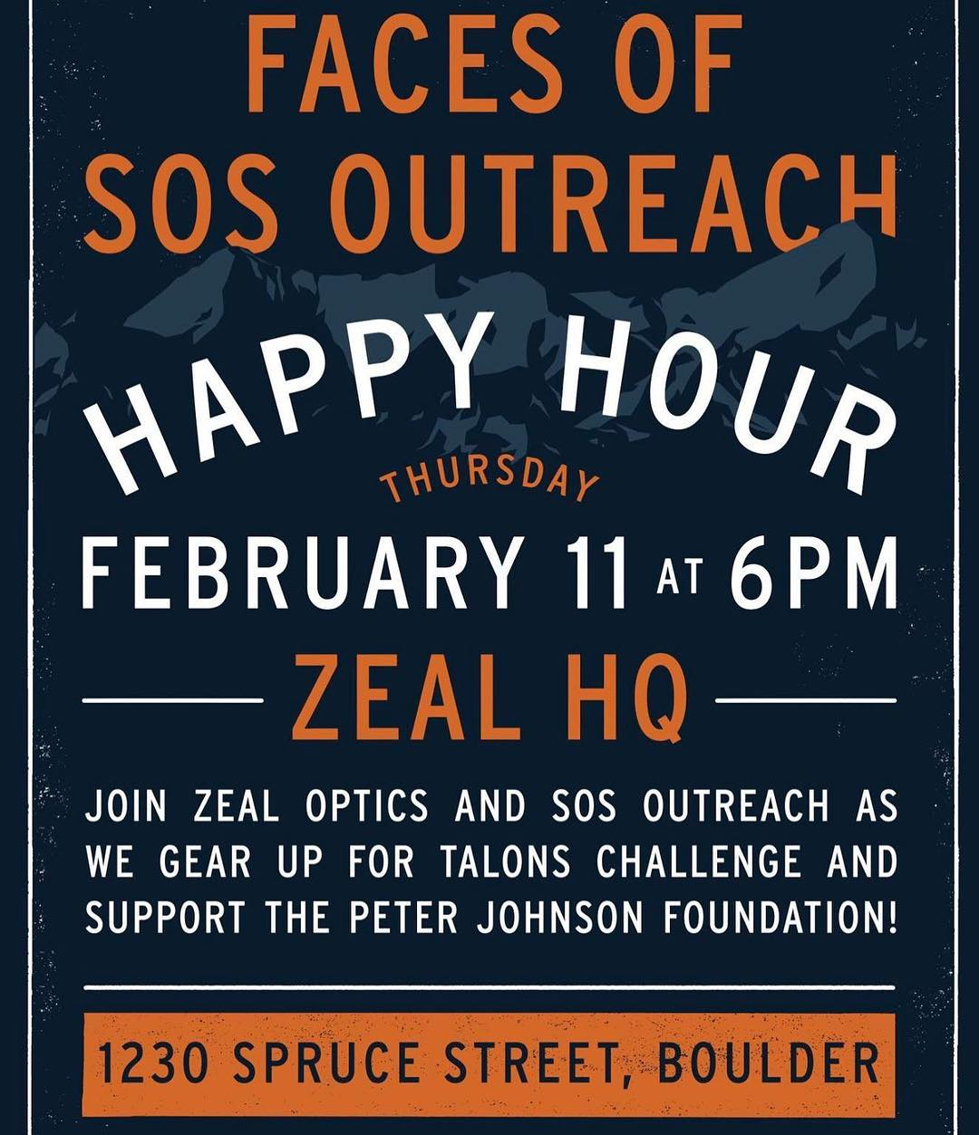 Can't wait til 6 pm as we unveil the #FacesofSOS to our #Boulder community! Swing by @zealoptics and help us raise support for #sosoutreach #youth programs and #inspireyouth • Extra perks? Brewskis compliments of our friends at @upslope and killer...