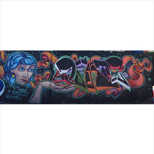 @lenatx | @dfkto.ahs • • Collaboration • • #atx #austintx #texas #tx #spratx #graffiti #streetart #grafite #art