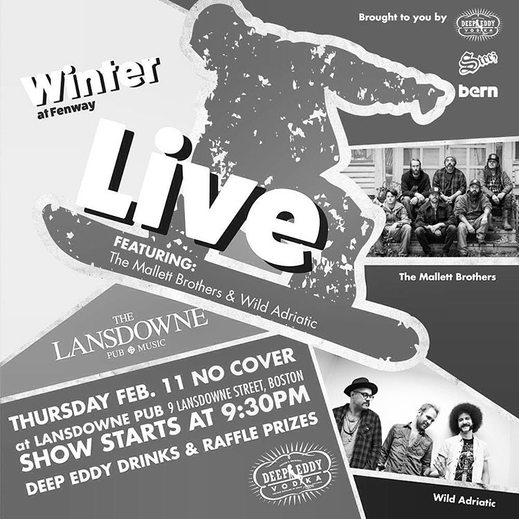 Free afterparty this Thursday night at @lansdownepub after the big air at Fenway. Live music, drinks and prizes. No cover. @deepeddyvodka @bernunlimited