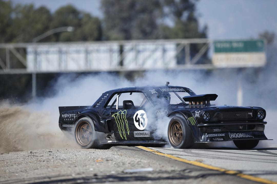 Once upon a time, @kblock43 took some batshit crazy Mustang and destroyed a few streets in LA. #Hoonicorn