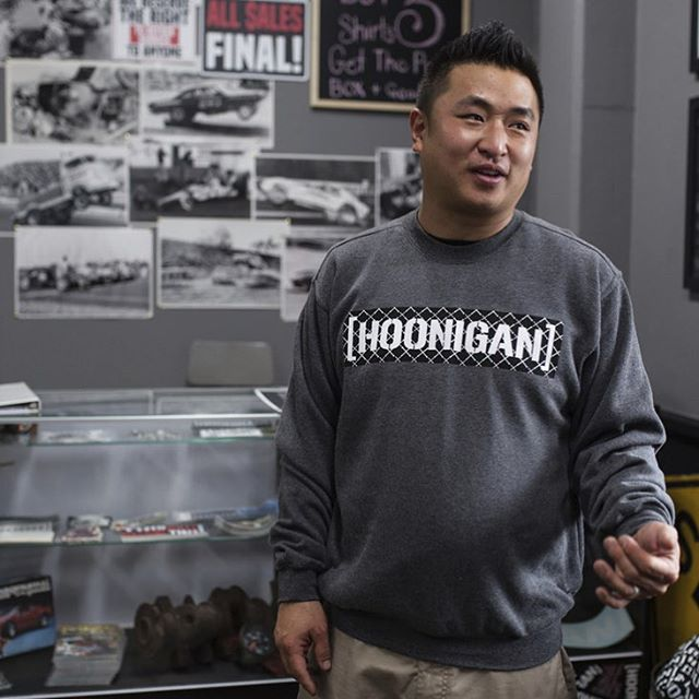 Homie @geoffstoneback reps Philadelphia, where it's cold, so when he comes to the Donut Garage, he stocks up on some warm bits, even when its hot. Gear up proper on #hooniganDOTcom