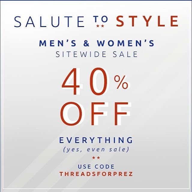 Don't forget about our 40% off sale! Use code: THREADSFORPREZ / link in bio to shop #shop #sale #reminder #fashion #mens #womens #presidentsday