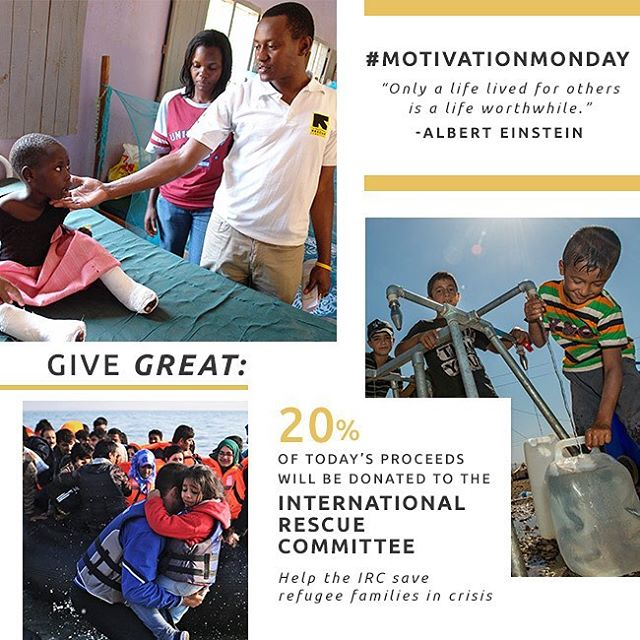"#MondayMotivation- ""only a life lived for others is a life worthwhile-"" Albert Einstein. 20% of today's proceeds will be donated to the @theirc. #shop now & #giveback- link in bio."