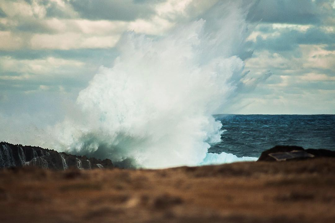 The power of the open ocean swell pounding just off of Lā'ie Point in Hawai'i yesterday evening. In that spirit, enjoy this Aloha Friday!