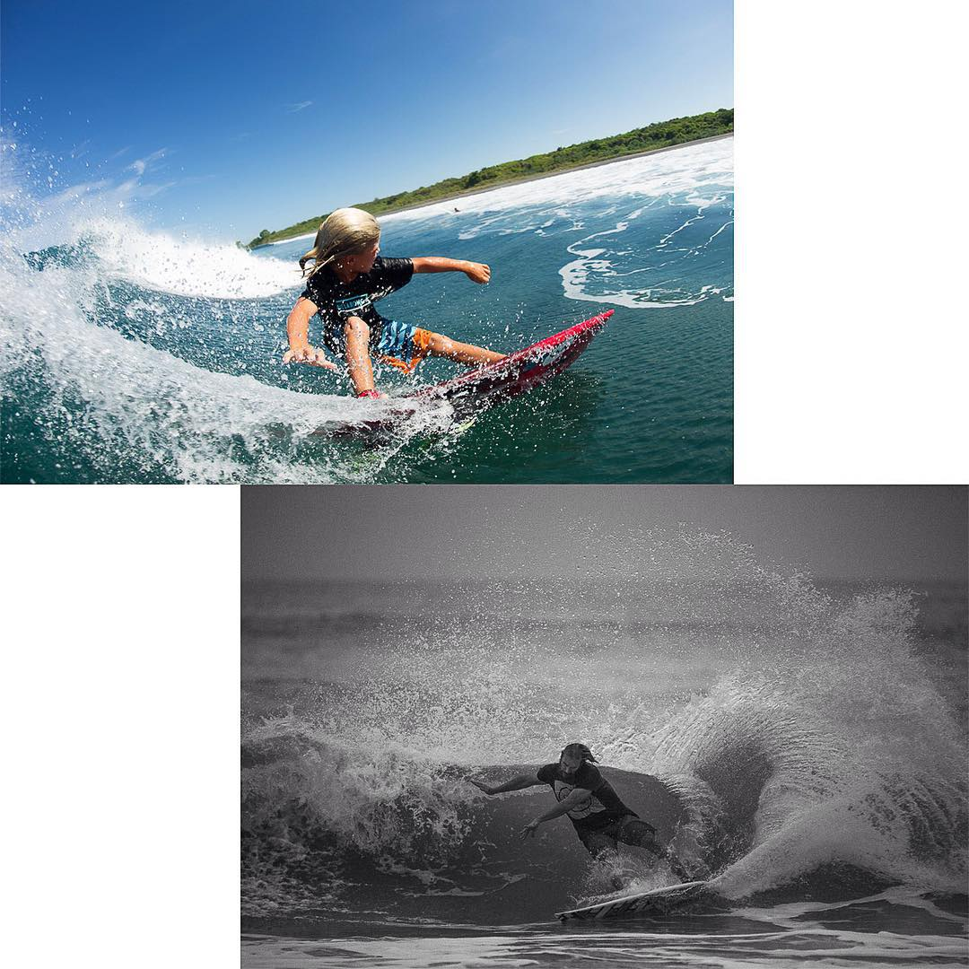 Like father @petemendia, like son @k_epic_mendia_. Evidence that this family legacy of power surfing is being passed down properly. Photos by artist @nicolalugo.