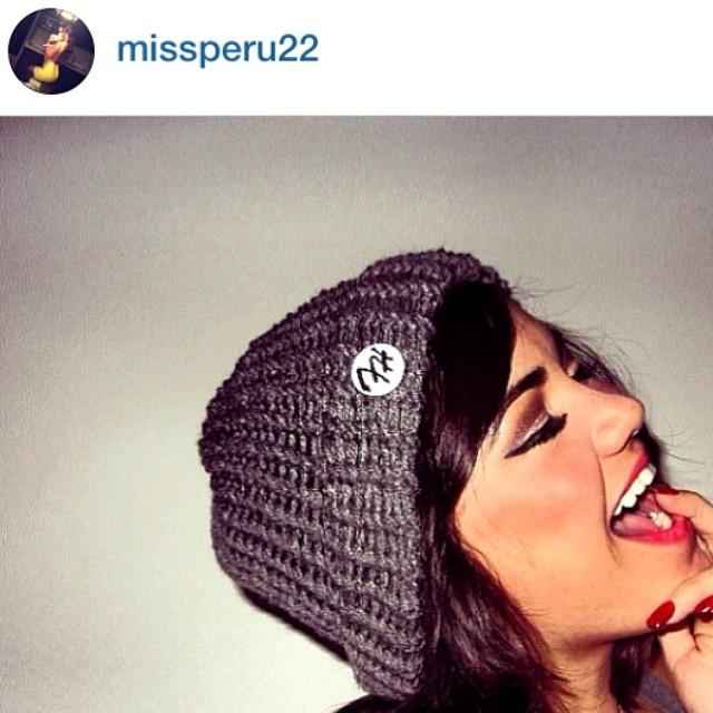 @missperu22 wearing a knitted @frostyheadwear hat #madeinMN❄️#frostyheadwear