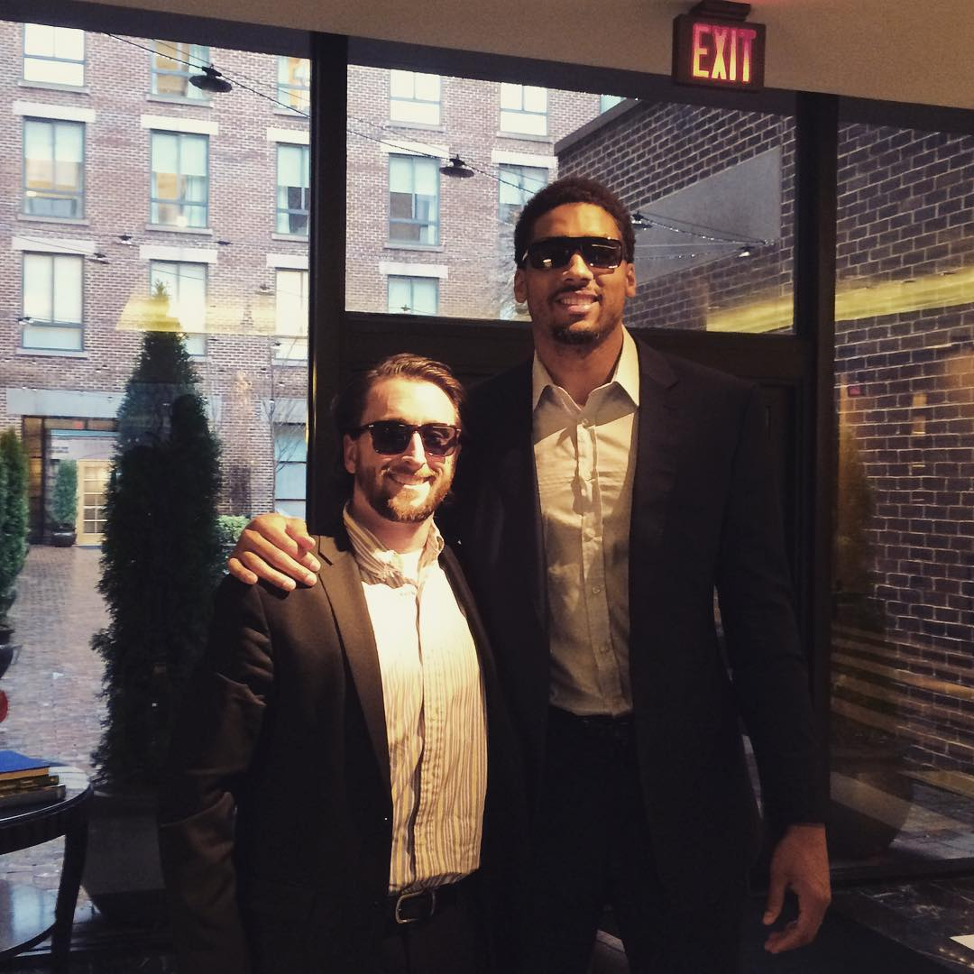 Hanging out with @jamesmcadoo before the @warriors vs @washwizards basketball game tonight #waveborn #givesight #dubnation