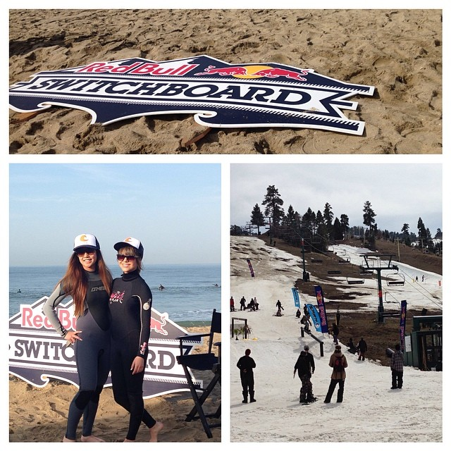 goFlow at the beach and snow same day with Red Bull Switchboard. Stoked to be part of such a rad event and awesome cool people. #switchboard #redbull #goflow #surf #snow #adventure @ianwalsh4