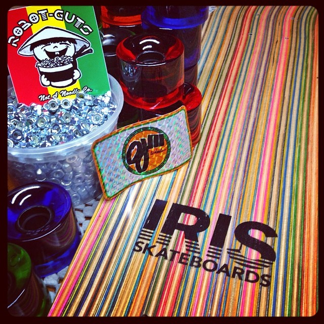 Iris skateboard completes proudly come equipped with @ojwheels and @robotguts hardware. #recycledskateboards #irisskateboards