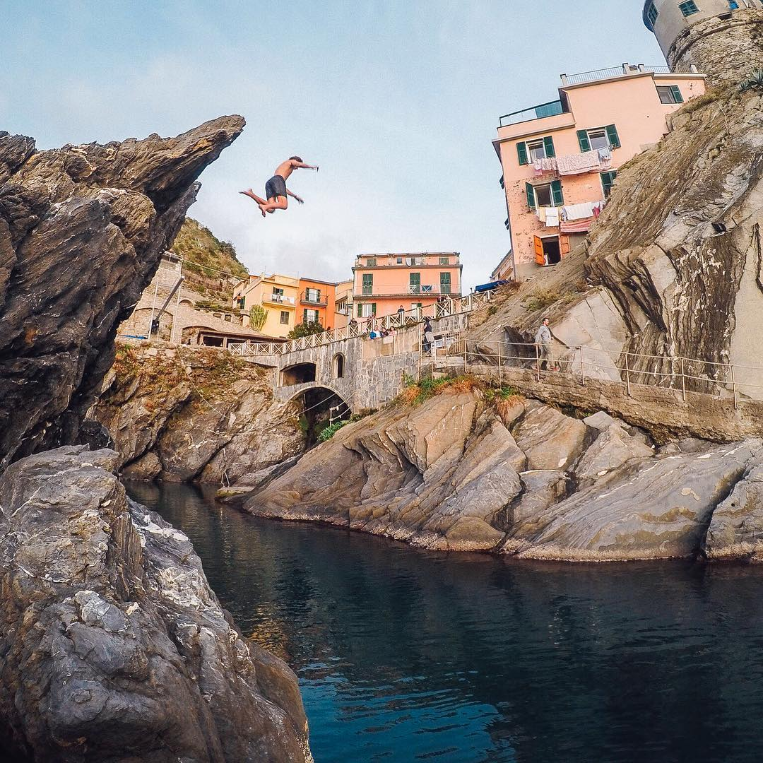 The business end of #TravelTuesday! @jeremy_bishhh catching his boy sending it from the cliffs of #Manarola. Share your travels with us via #GoProAwards link in our bio! #GoPro