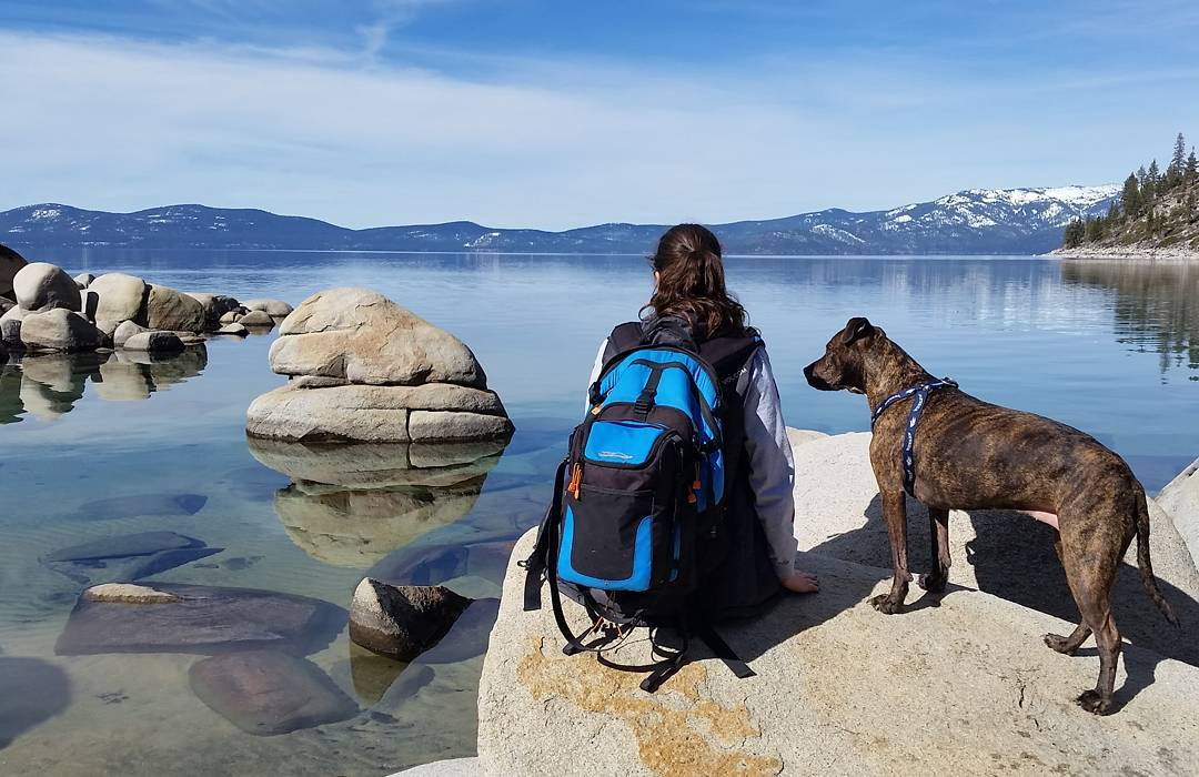 Mariel and Jill staring into a beautiful #tahoe day with the Cascade backpack and cooler. #skunkharbor #getoutside #whatsyour20 #backpacks #coolers #graniterocx