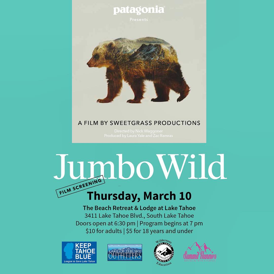 After 24 years of opposition, what more will it take to #KeepJumboWild for good? Join us for this South Lake Tahoe screening, the celebrated @patagonia documentary by @sweetgrassp. Staff from @keeptahoeblue will share how challenges like those depicted...