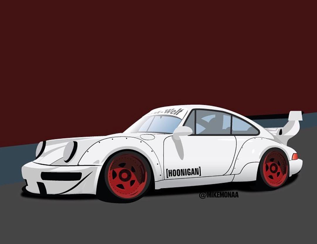 Awesome illustration of HNGN brand director @brianscotto's RWB 911.  ___ Illustration by @mikemonaa