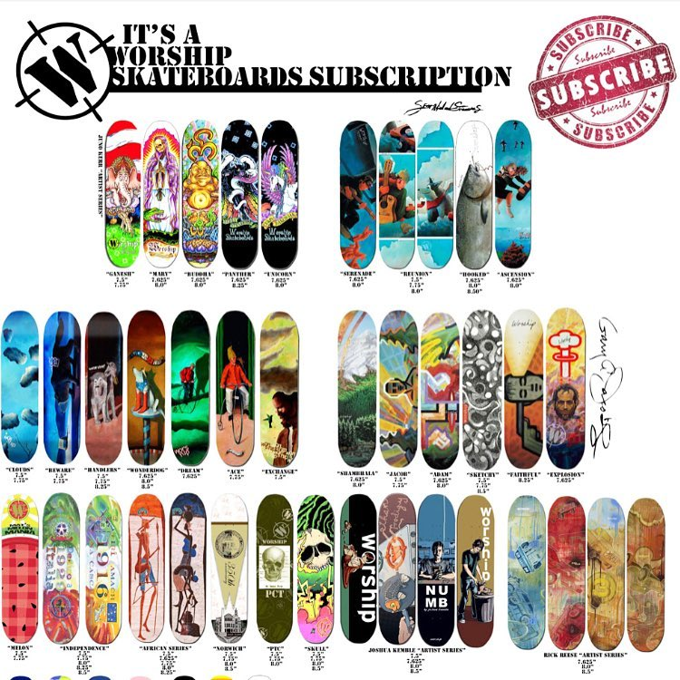 Spring is in the air!!!! If you buy a skateboard subscription this month (now til the 29th) you'll get a bonus $100 worth of free clothing in the first box. You'll get a new board in the mail every month!!!! http://www.worshipskateboards.com/id91.html...