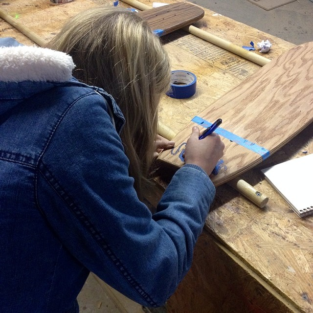 Chelsea making a board yesterday as a part of the @skillery class.
