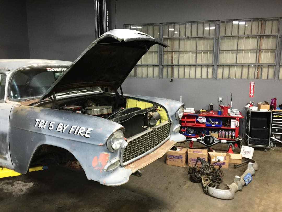 Can anyone guess what @jchase7452 has planned for his '55? #DonutGarage #tri5byfire
