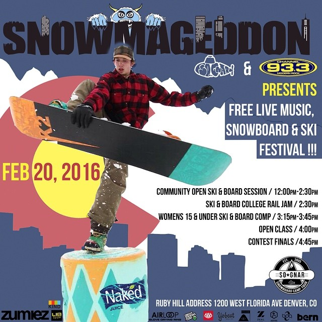 •DENVER• This Saturday, FREE, 12-6 PM @ Ruby Hill Park in DENVER!! Come shred some slush, sample some drinks from @Nakedjuice snack on some @kindbars, and shred some fun slushy spring snow conditions ~⚡️〰 #sognar #Denver #colorado #snowboarding...