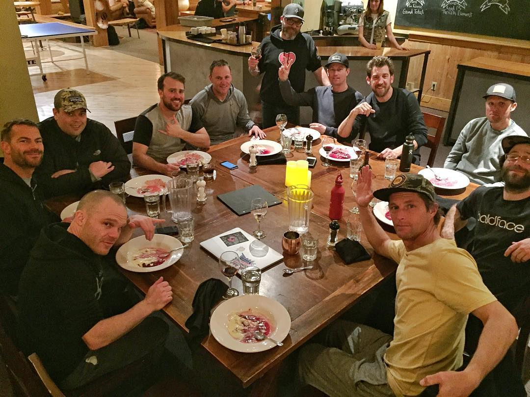 An amazing group of humans here at the dinner table at Baldface tonight, including snowboard pro-bros Todd Richards, Mickey LeBlanc and Eric Jackson, WMG's staff of amazing sports agents (Astephen, Blair, Ruff, etc.), Jeff Pensiero aka Mr. Baldface...