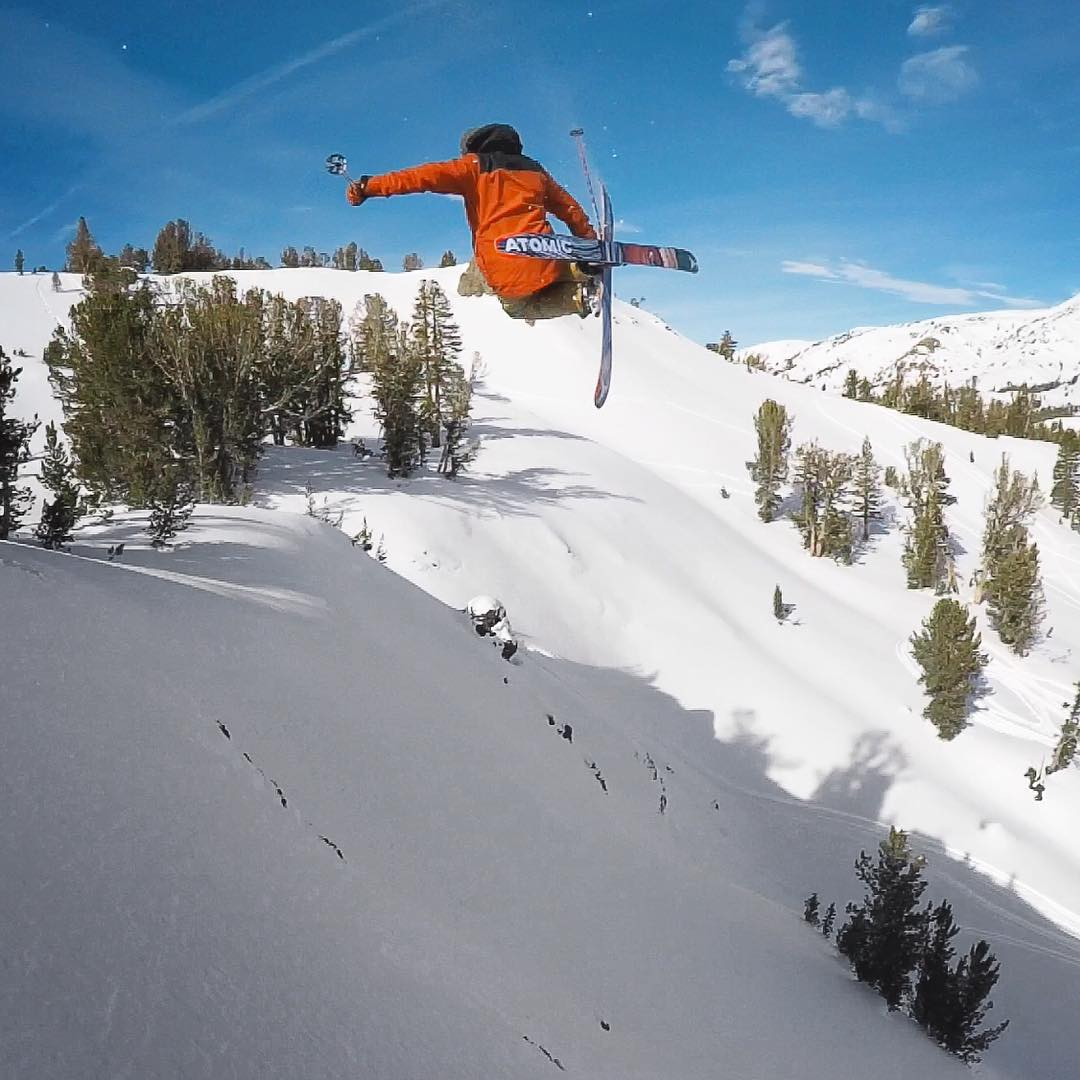 Look out below! @chrisbenchetler grabs mute in the Back Country of Mammoth.