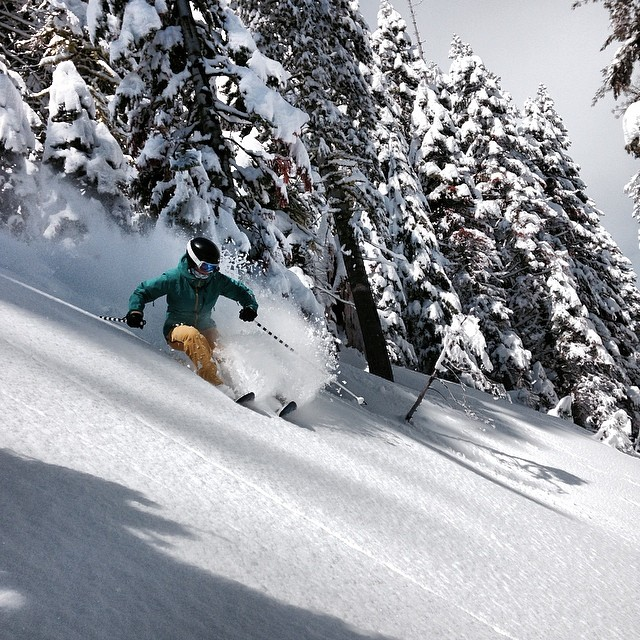 "@meganmichelson showing off the 2014-15 Billie coat on 15"" pow day @ Alpine Meadows,CA just now."