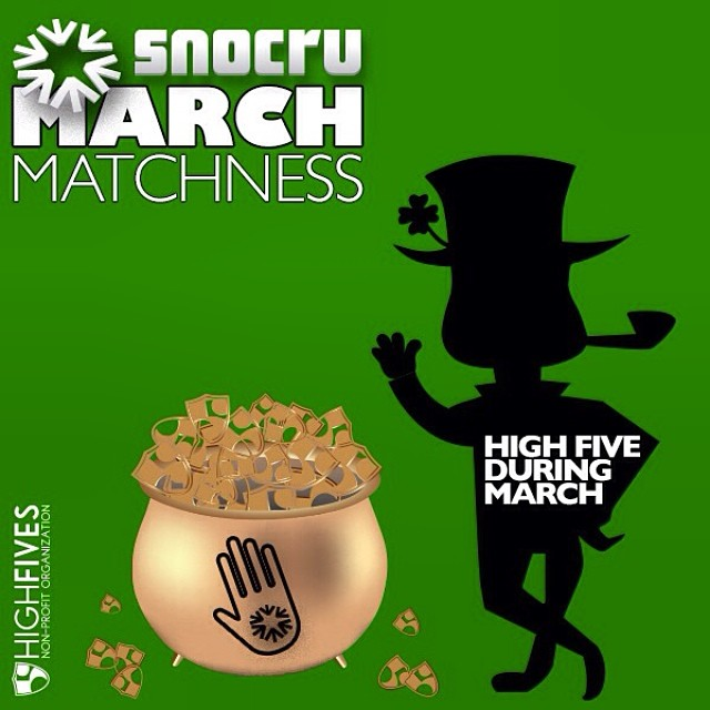 "Second to last day to #MakeEdBroke with the @snocru #MarchMatchness fundraiser! Every ""High Five"" is a $.50 donation to the Foundation. Snocru.com"