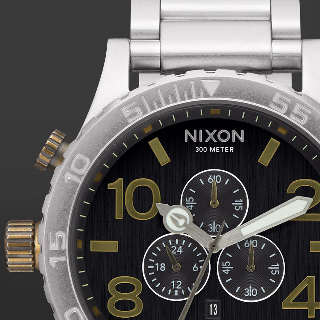 Good looks, brains and brawn - you can have it all. With an easy-to-read 51mm design, 6-hand chrono, date window, 24-hour and seconds subdials, the #5130Chrono rates second-to-none. #Nixon