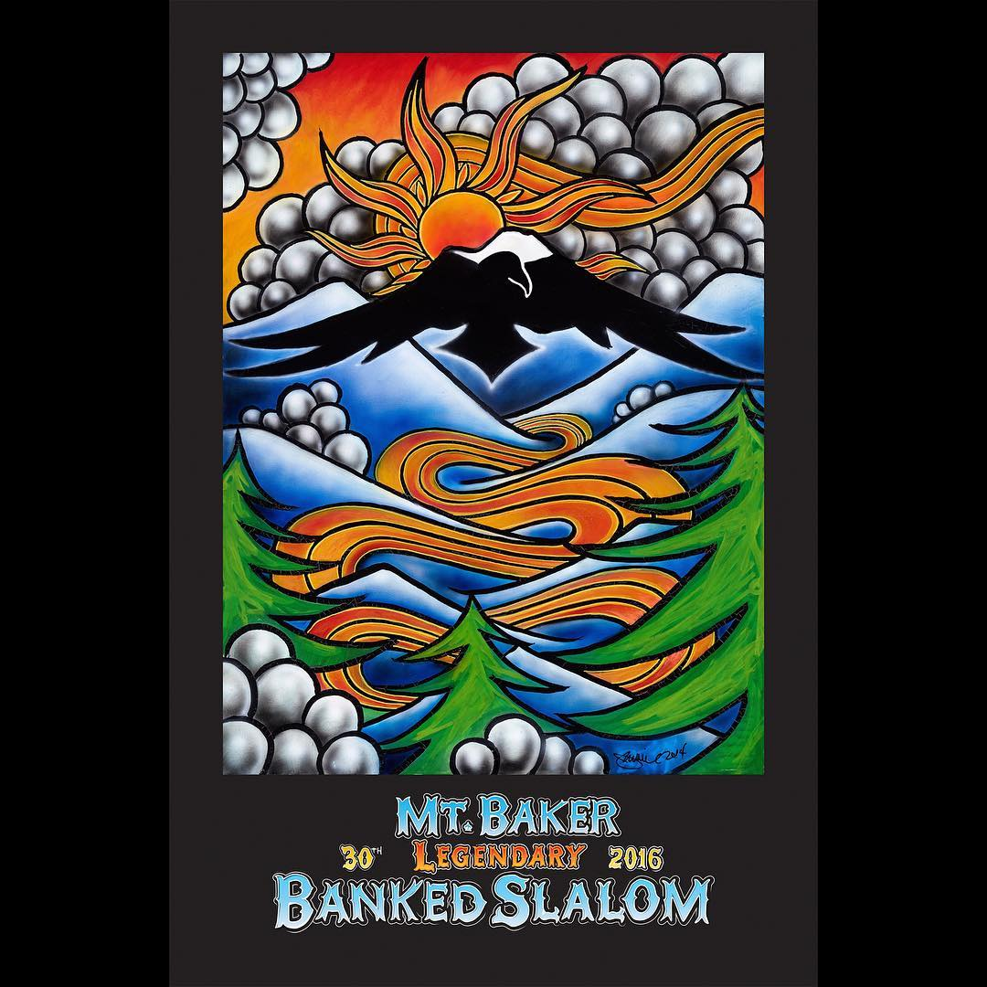 To all you 2016 LBS gold duct tape trophy seeking shredders, we wish you the best of luck this weekend! May all of the Mt. Baker Legendary Banked Slalom glory be yours!  To commemorate the 30th year of the LBS, the Mt. Baker crew commissioned some art...