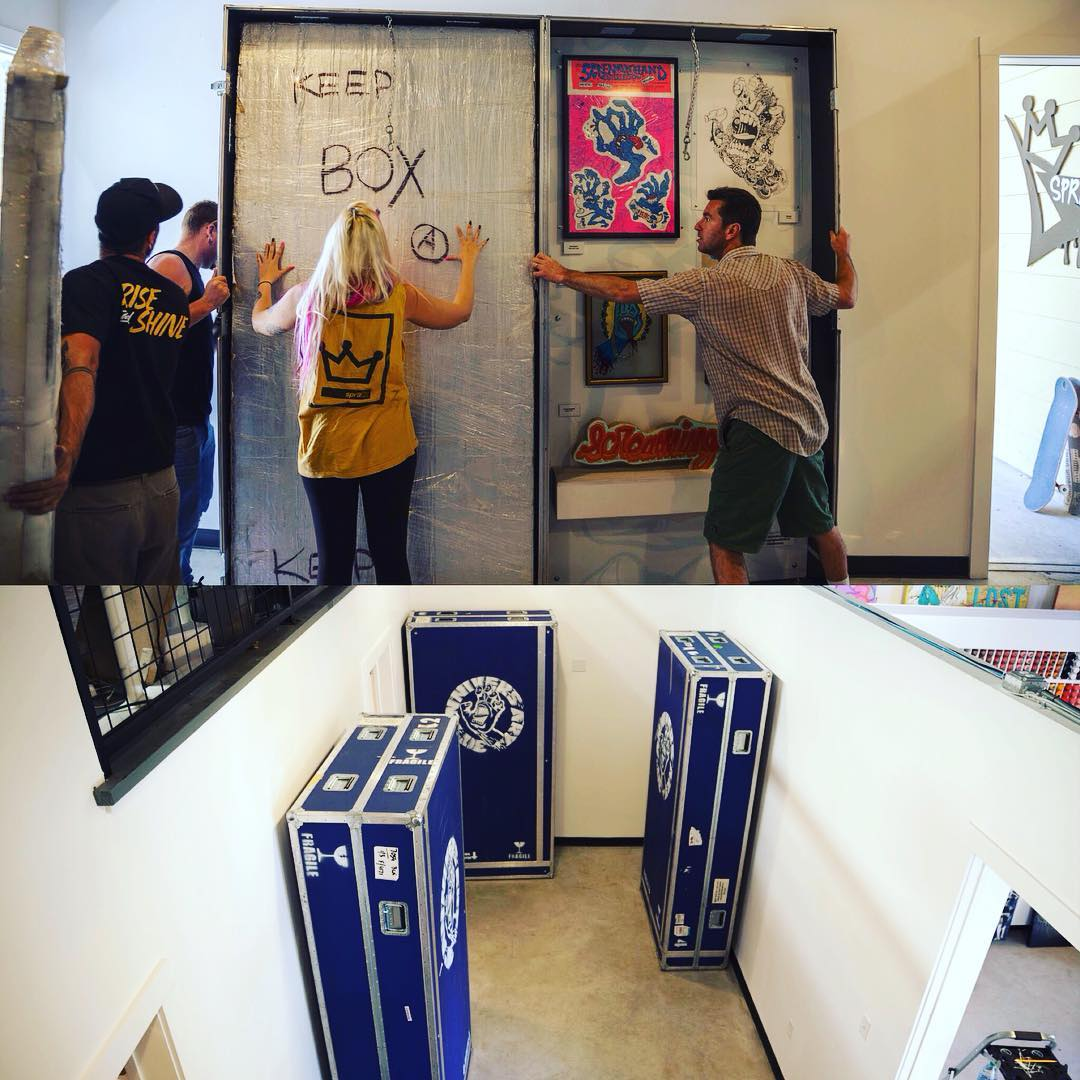 "Setting up for the big show tomorrow night! ""30 Screaming Years"" will be open to the public Friday 19th 6-10pm. Original artwork from artists around the world in one collective tribute to Jim Phillips, the creator of the Santa Cruz Screaming..."