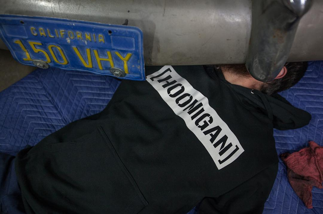 The C-bar hoodie: usually found behind the wheel, often under the car and ALWAYS on #hooniganDOTcom.
