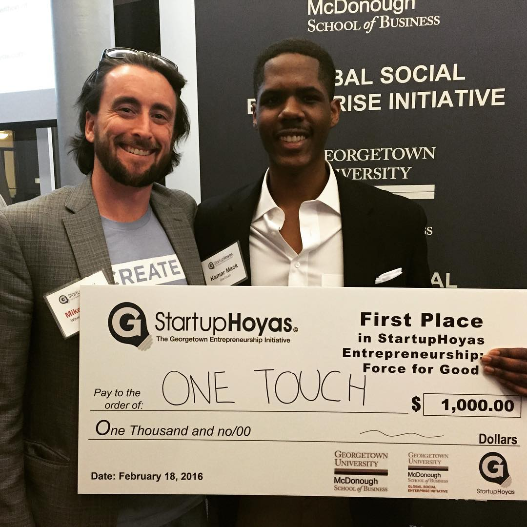Congrats to Kamar and One Touch for winning the Georgetown Social Innovation Pitch Competition last night! Kamar is a freshman with big plans to help feed and cloth the homeless in #dc #socentdc #hoyapreneur #bethechange #startsomethingthatmatters