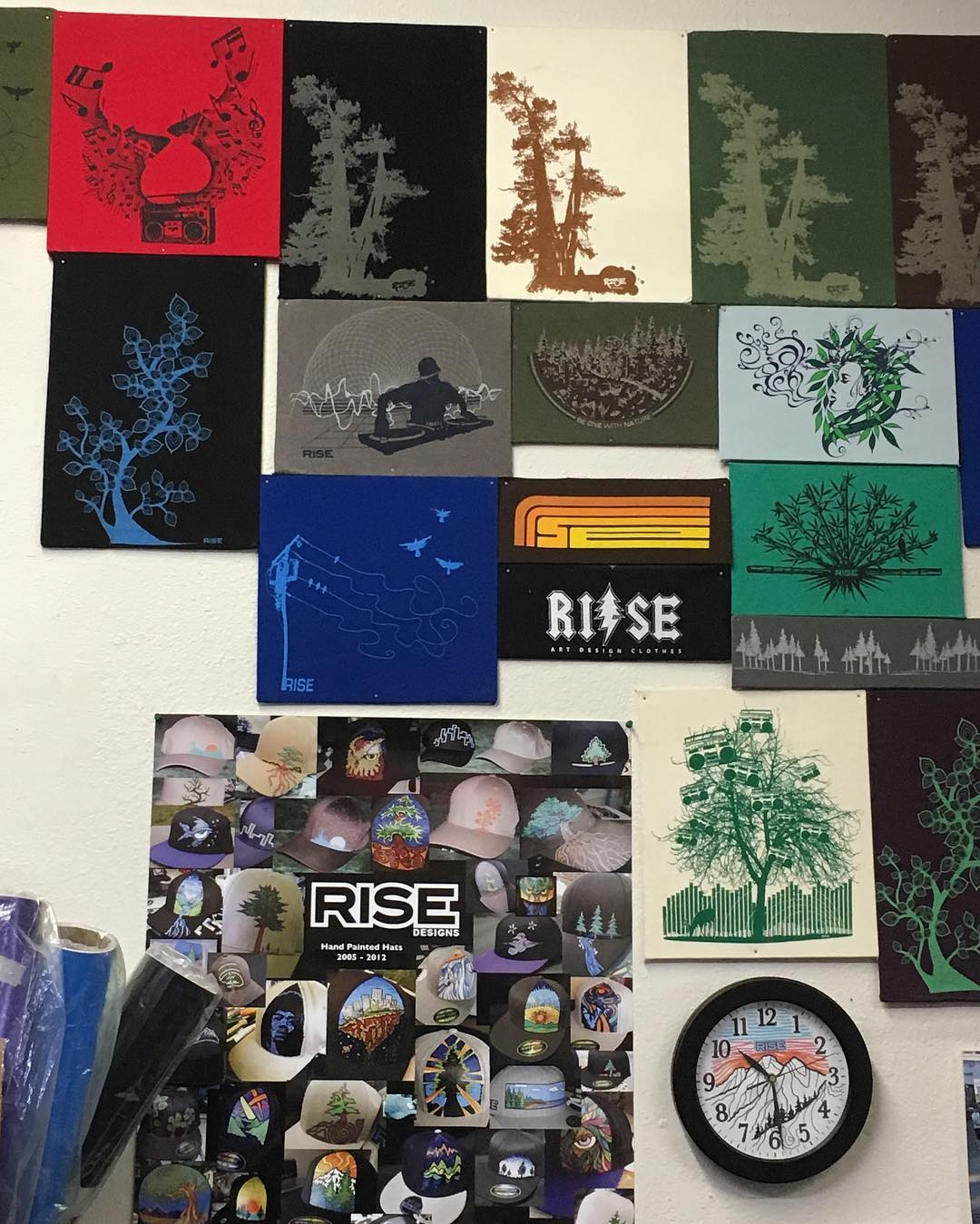 Have you seen our wall of fame? Lots of old designs and hat we drew. Come check it out in our shop sometime. #screenprinting #risedesigns #risedesignstahoe #itstime