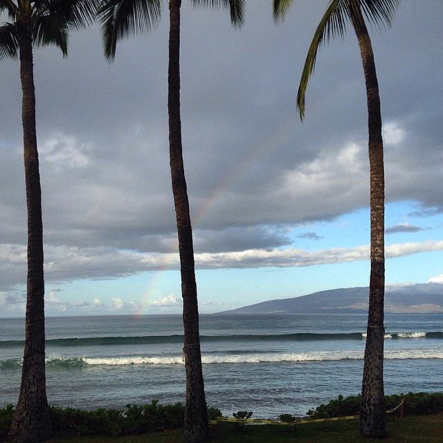 "Photo of the day: ""Rainbows and whales in the lineup this morning."" — Fun · Waist (2ft) · Glassy · Empty (via Hank Sender) — at Puamana #goFlow #Hawaii #surf #rainbow #whales :)"