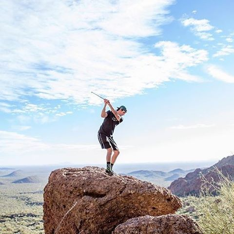 @thedapperdrive combining #golf with #hiking. Pretty #bright. Go ahead and #grabapair #mountains #arizona #westcoast #getoutside #explore
