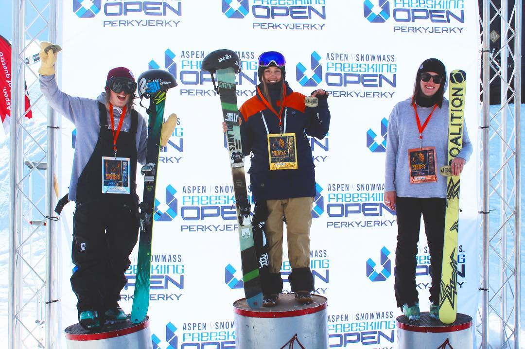 We're so proud of Coalition #athlete @adielawrence who landed a spot on the podium at the Aspen Open!  Congratulations Adie!  #sisterhoodofshred #aspen #colorado #skiing #girlswhoride