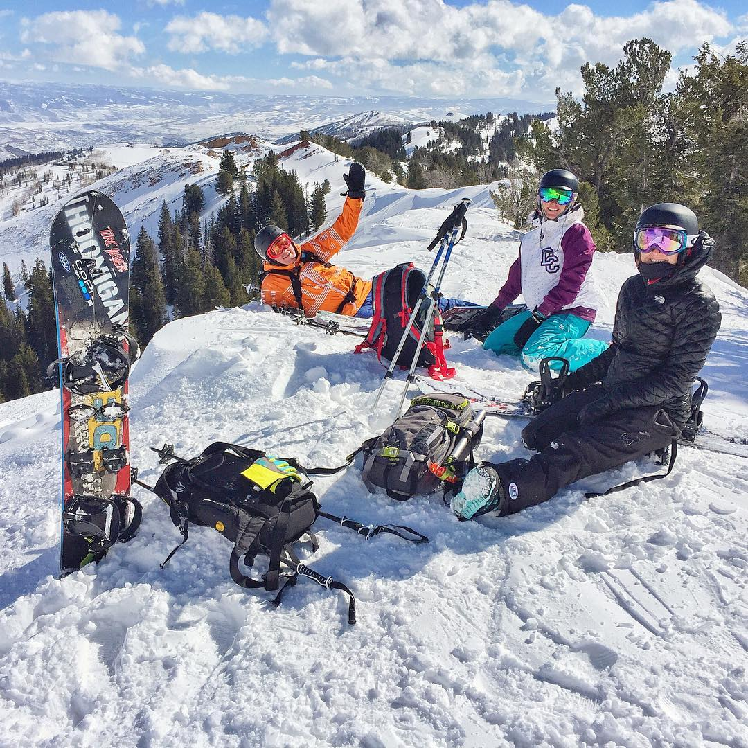 Splitboarding adventure crew at the top of the mountains here in #ParkCity today: @Ken_Butch, my wifey, and @kategreig. The pow was good, but not perfect since it's been a bit warm and windy here in Utah. Still a good day out in the mountains, though....