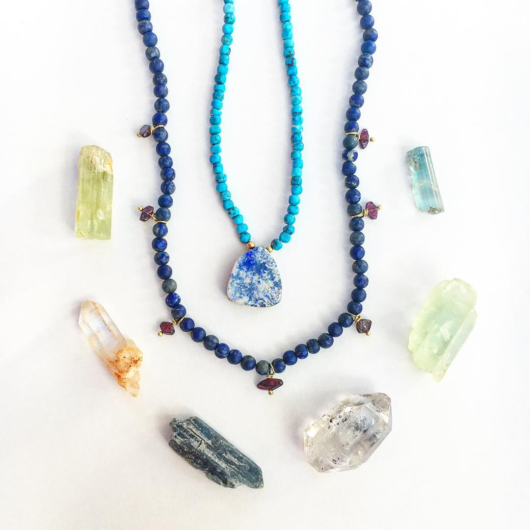 Sunday fun day!  Stoked for an epic day with my husband @claytonhumphries !  First... A little crystal fun.  These are some of the new #Lapis and Turquoise limited editions which will soon be available at my amazing city vendors! Wear long, wear short,...