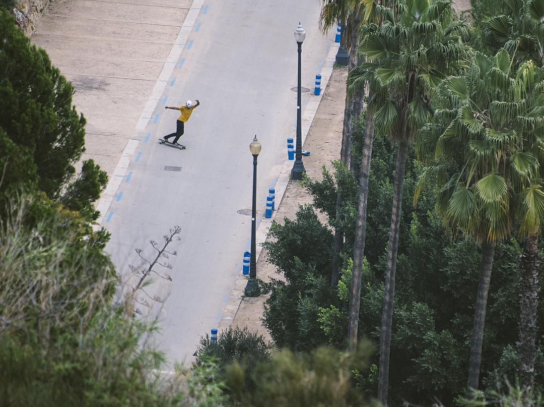 Way above it all, team rider @agboton seen doing a backside slide from far.