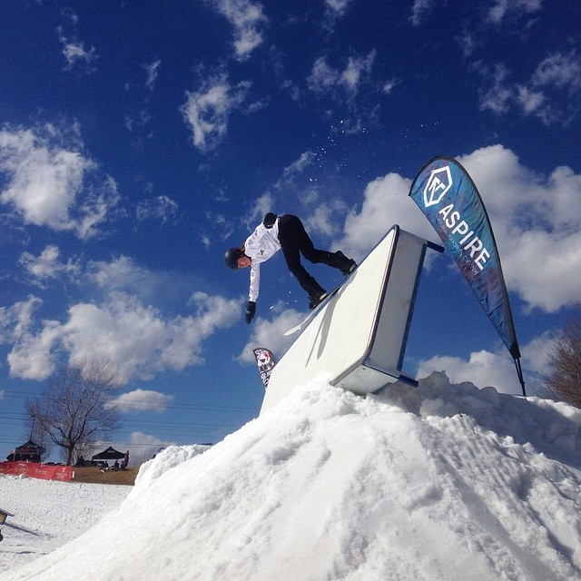 Dylan ( @dylanoaktree ) making it look easy yesterday at Ruby Hill park in Denver for The Snowmageddeon session