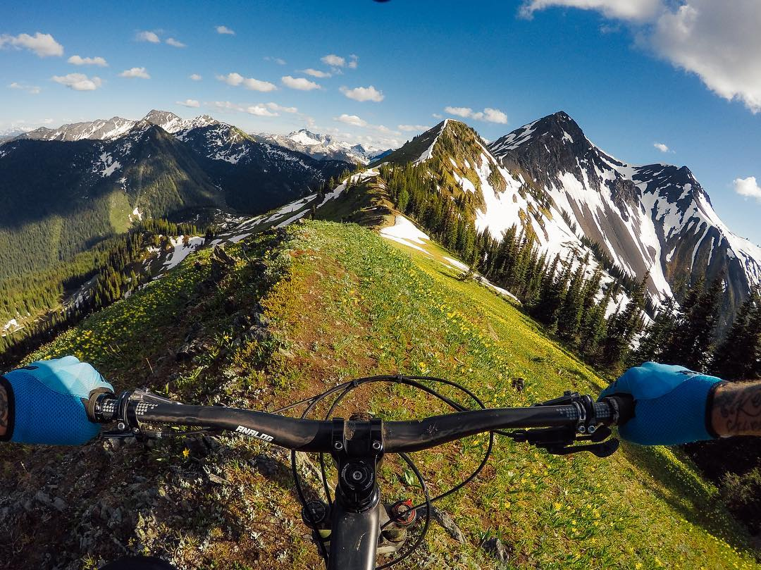 Photo of the Day! @geoffgulevich riding a fine line atop #RicoPeak in #BritishColumbia. Shred it and share with us via #GoProAwards link in our bio. #GoPro #MTB